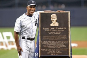 6/20/15 - Detroit Tigers vs. New York Yankees at Yankee Stadium - Before the game the Yankees celebrated Old Timers Day - During a celebration honoring Willie  Randolph, he is standing next to the plaque that will be put in Monument Park.